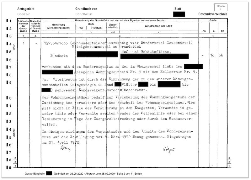Bestandsverzeichnis eines Grundbuchs
