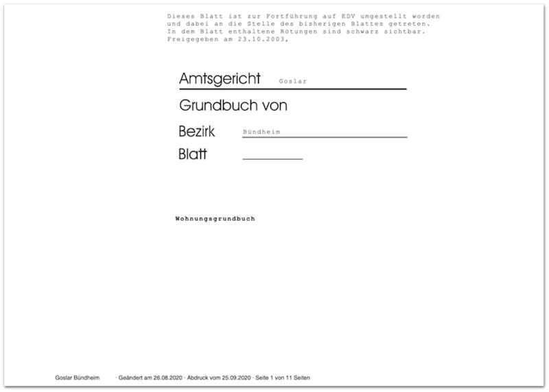 Grundbuch Grundbuchauszug